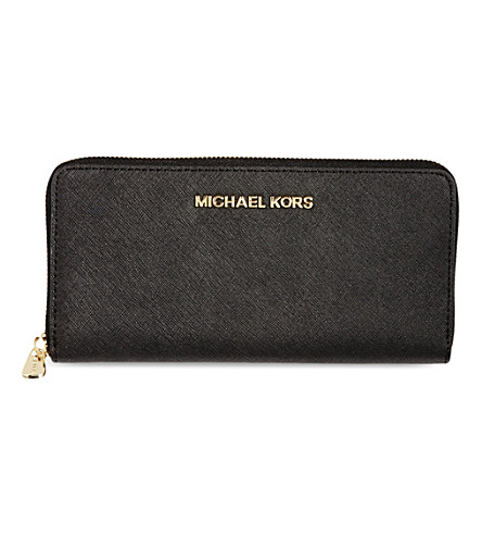 Michael Michael Kors Jet Set Saffiano Leather Wallet In Black