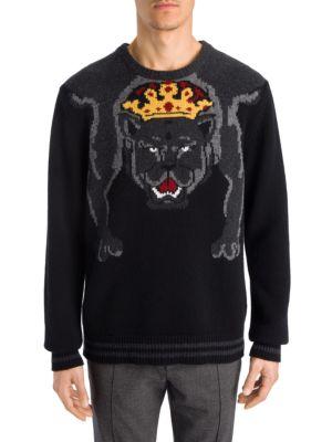 Dolce & Gabbana Royal Panther Jumper In Nero