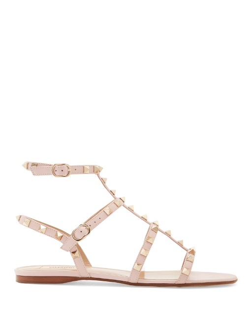 Valentino Rockstud Leather Flat Sandals In Light Pink