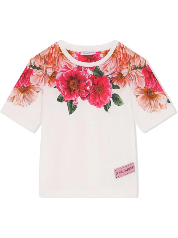 Dolce & Gabbana Kids' Girl's Floral-print Short-sleeve Cotton T-shirt In White