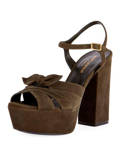 a11f64cb044b Saint Laurent Farrah Platform Suede Sandals