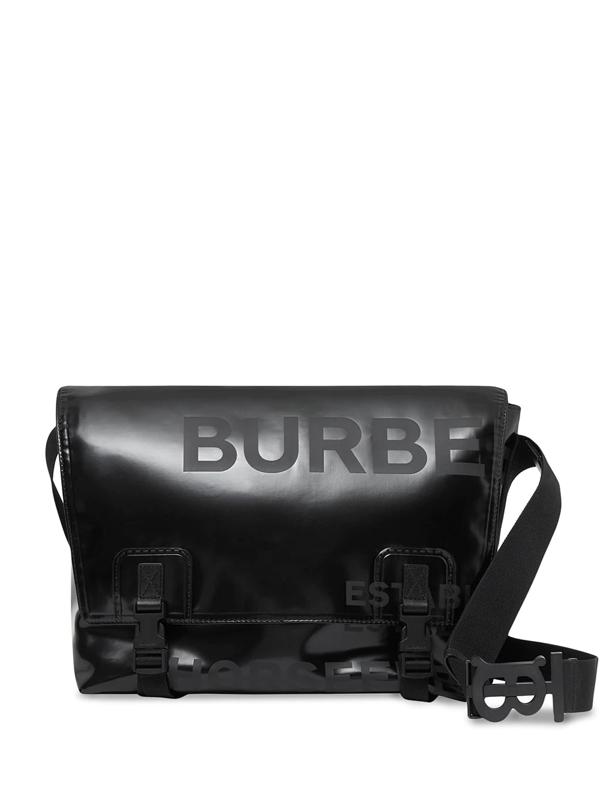 Burberry Men's Horseferry Print Coated Canvas Messenger Bag In Black