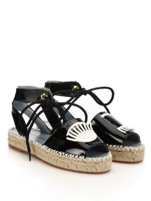 Chiara Ferragni Wink Patent Leather Espadrille Sandals In Black