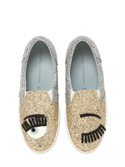 f8c624b05 Chiara Ferragni 30Mm Flirting Glitter Slip-On Sneakers, Gold/Silver ...
