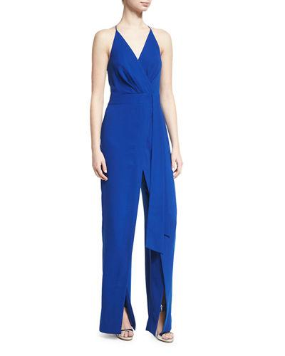1f4a8b9c346 Halston Heritage Woman Wrap-Effect Chiffon-Paneled Crepe Jumpsuit Royal Blue