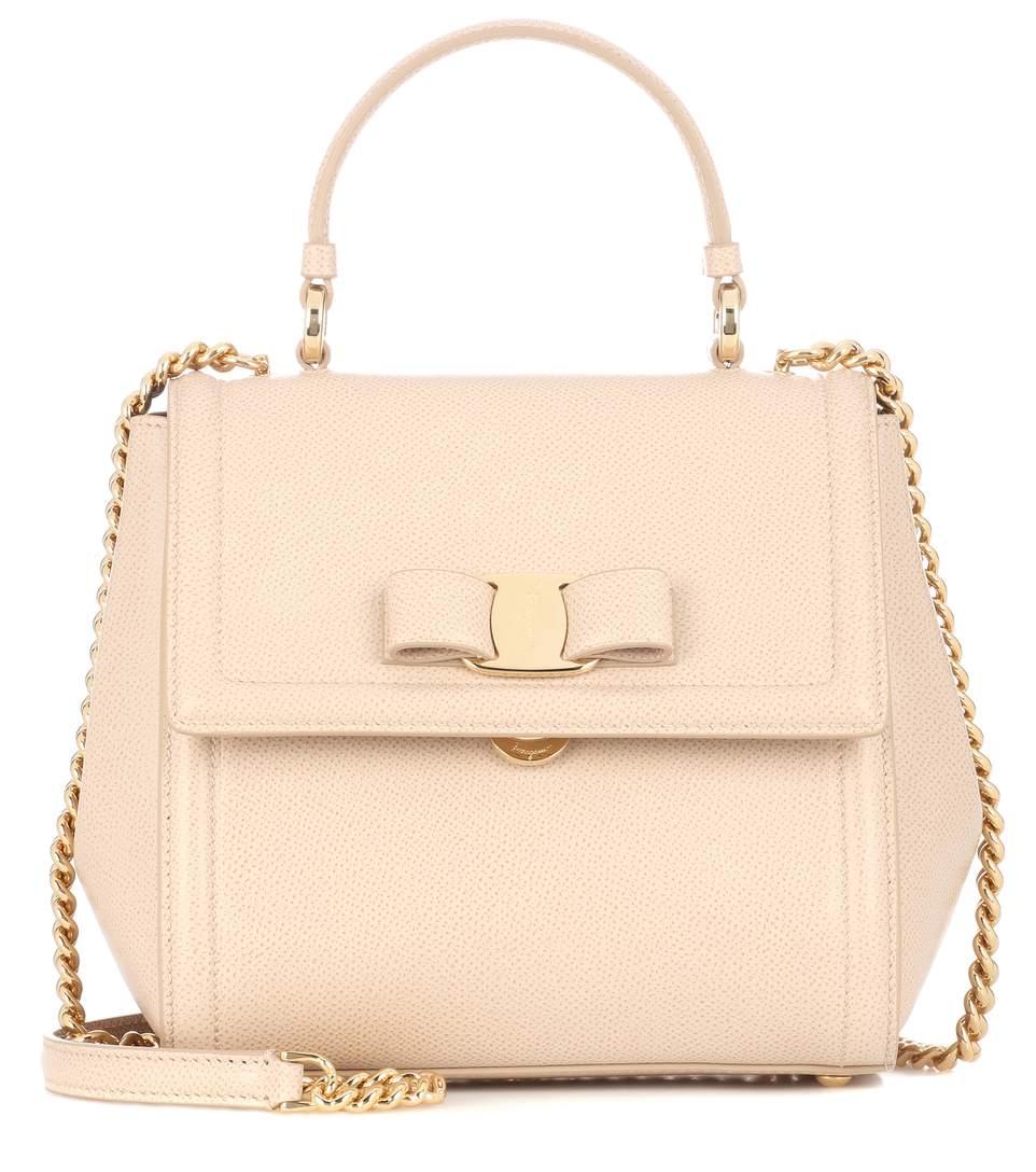 70fff9a28932 Salvatore Ferragamo Carrie Leather Shoulder Bag In Beige