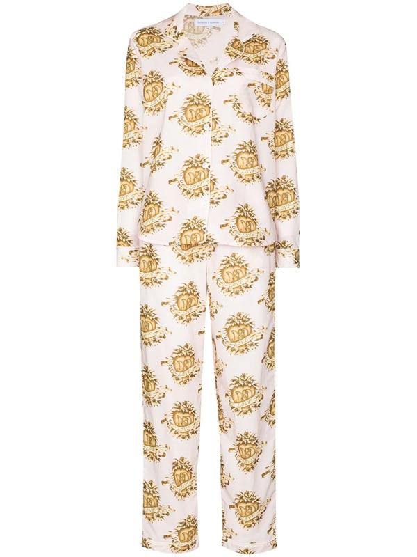 Desmond & Dempsey Eros Heart-print Pyjamas In Pink