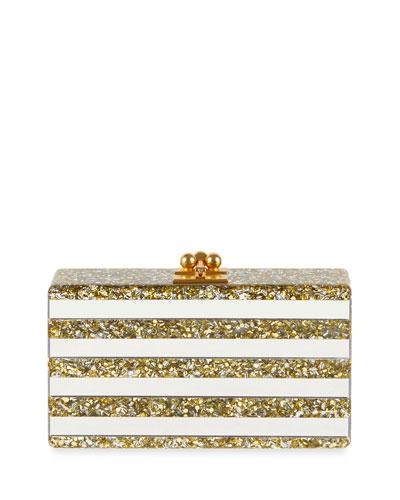 Edie Parker Jean Confetti-striped Box Clutch Bag In White Metallic