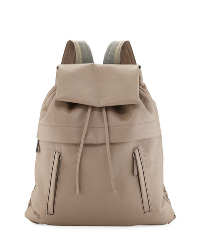 Brunello Cucinelli Calfskin Backpack W/monili Straps, Light Grey