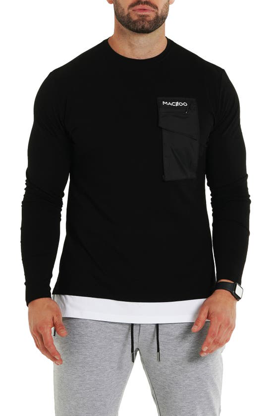 Maceoo Long Sleeve Pocket T-shirt In Black