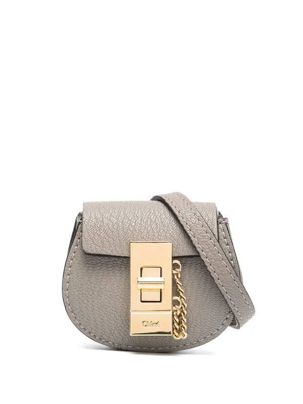 Chloé Drew Mini Grained-leather Belt Bag In Grey