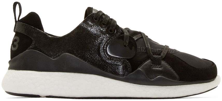 Y-3 Black Textile & Leather Low-top Boost Sneaker