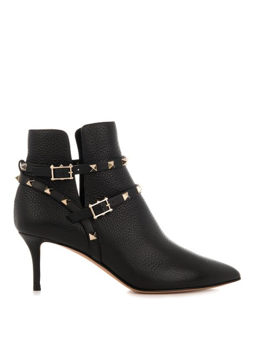 Valentino Rockstud Ankle Booties - Black