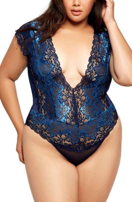 Icollection Lace & Mesh Panel Teddy In Blue