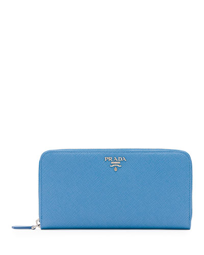 Prada Saffiano Leather Oro Zip-around Wallet, Light Blue (mare)