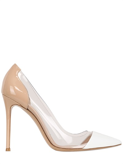 Gianvito Rossi 100Mm Two Tone Patent Leather Pumps, White/Nude