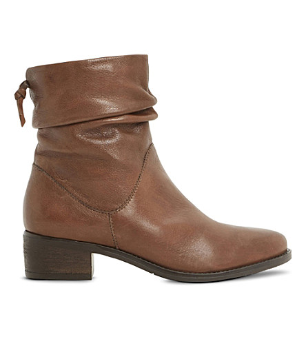 Dune Ladies Tan Pagers Ruched Leather Ankle Boots In Tan-leather