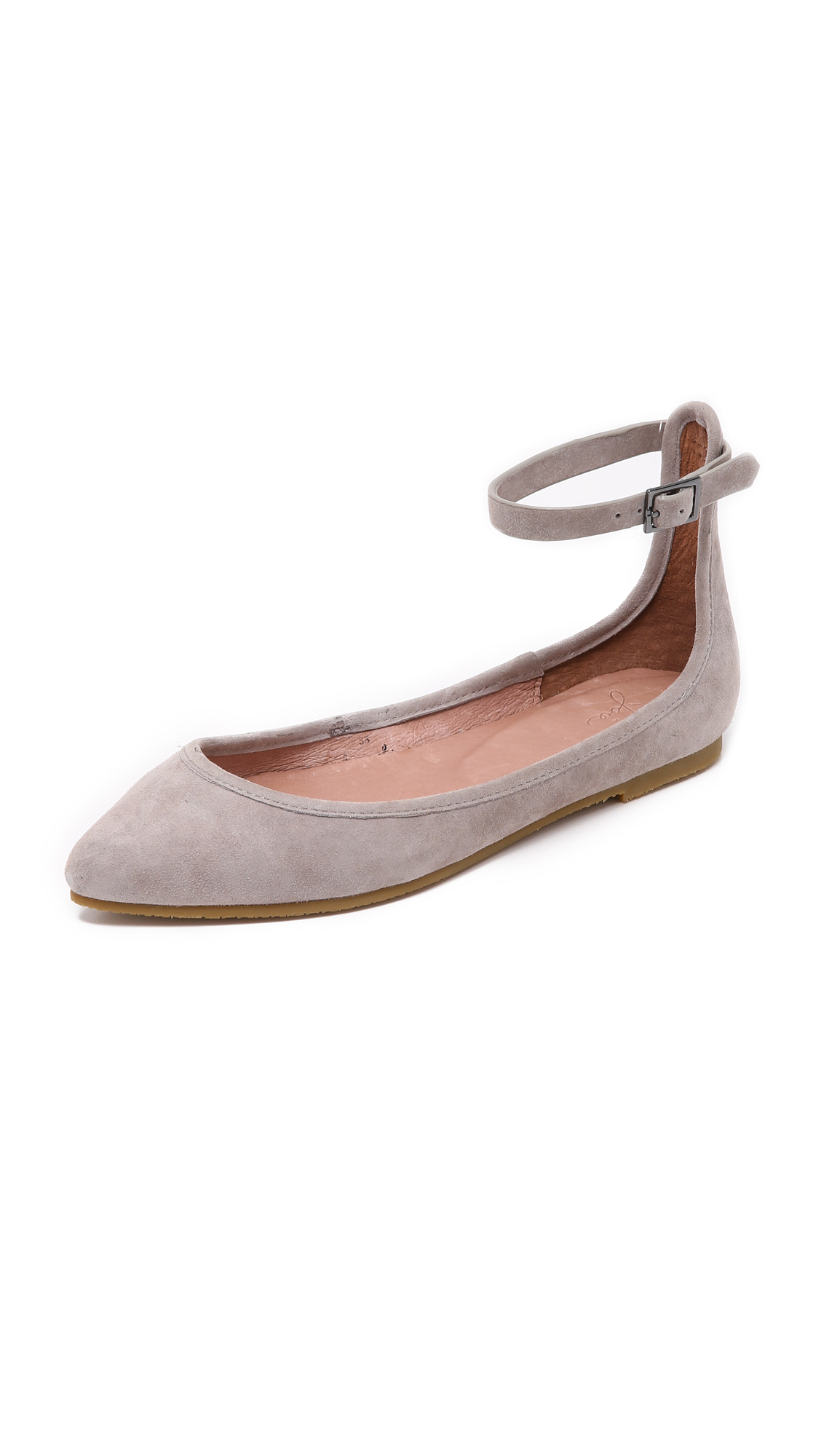 Joie Temple Suede Ankle-strap Flats In Dove
