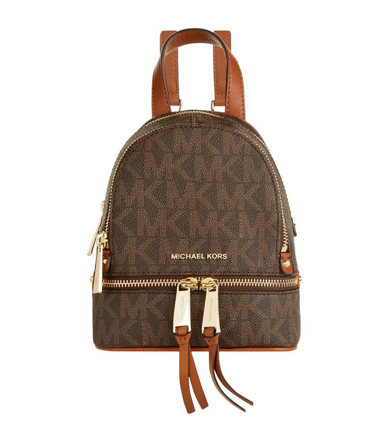 3bce4f36b613 Michael Kors Mini Rhea Zip Backpack In Brown | ModeSens