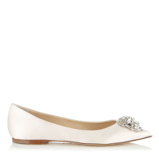 Jimmy Choo Alina Ivory Satin Pointy Toe Flats With Crystal Detail