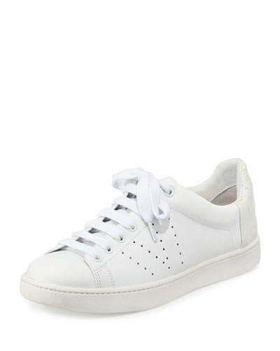 Vince Varin Embossed Low Top Lace Up Sneakers In Plaster/plaster