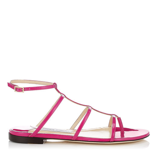 Jimmy Choo Woman Doodle Patent-Leather Sandals Magenta In Jazzberry