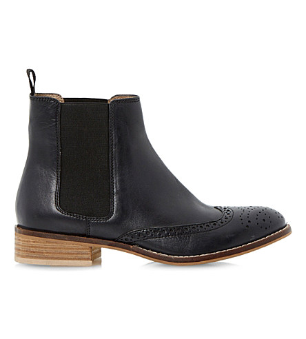 Dune Quentin Leather Brogue Chelsea Boots In Black-leather