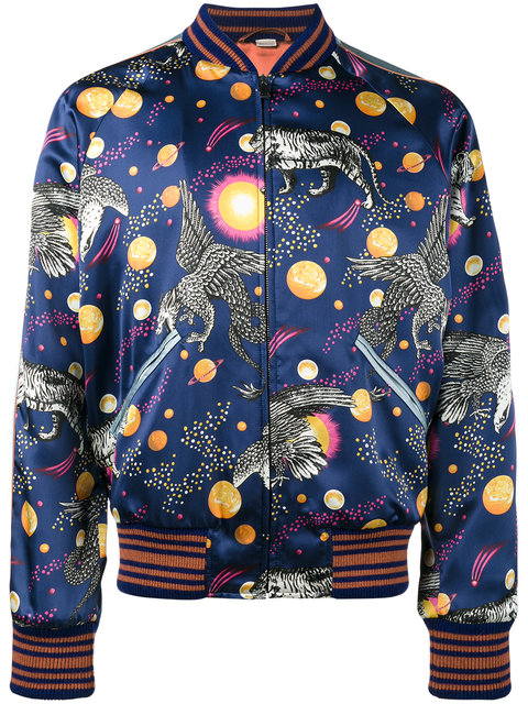 ab2c447d229 Gucci Space Animals Slim-Fit Printed Satin Bomber Jacket In Blue ...
