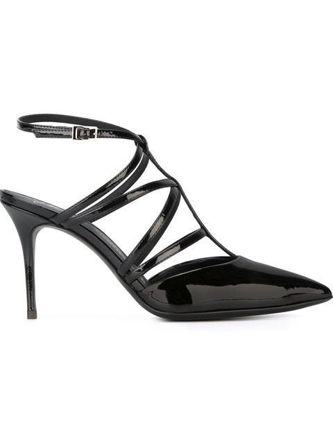 Giuseppe Zanotti 'natasha' Caged Patent Leather Pumps In Nero