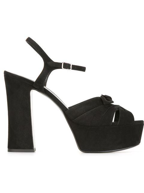 Saint Laurent Betty Bow-Embellished Suede Platform Sandals In Black