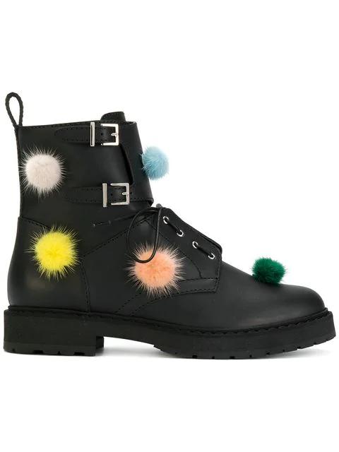 6ff37e08942 Leather Biker Boots With Multicoloured Fur Pompom in Black