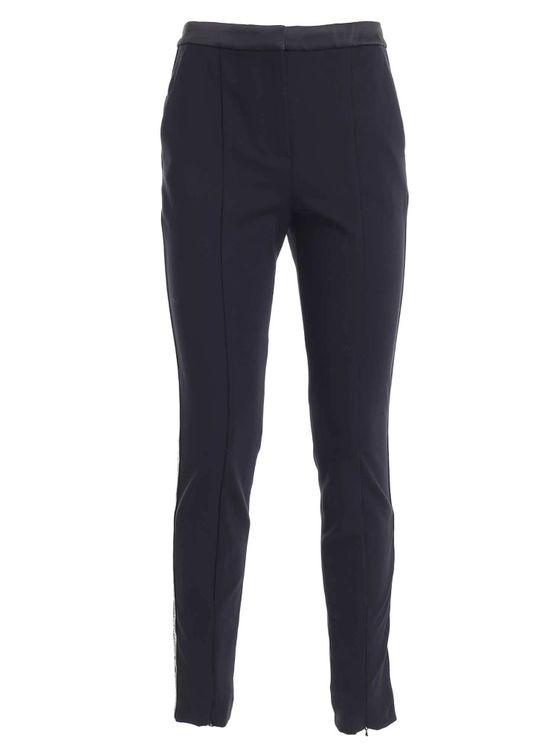 Karl Lagerfeld Wlogo Tape Pants In Blue