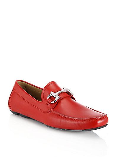 Salvatore Ferragamo Parigi Leather Drivers In Red