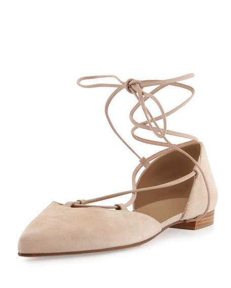 Stuart Weitzman 'gilligan' D'orsay Suede Lace-up Flats In Bisque