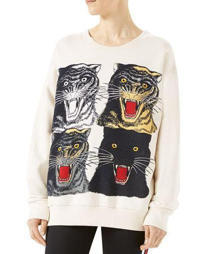 Gucci Tiger Face Oversize Sweatshirt, White