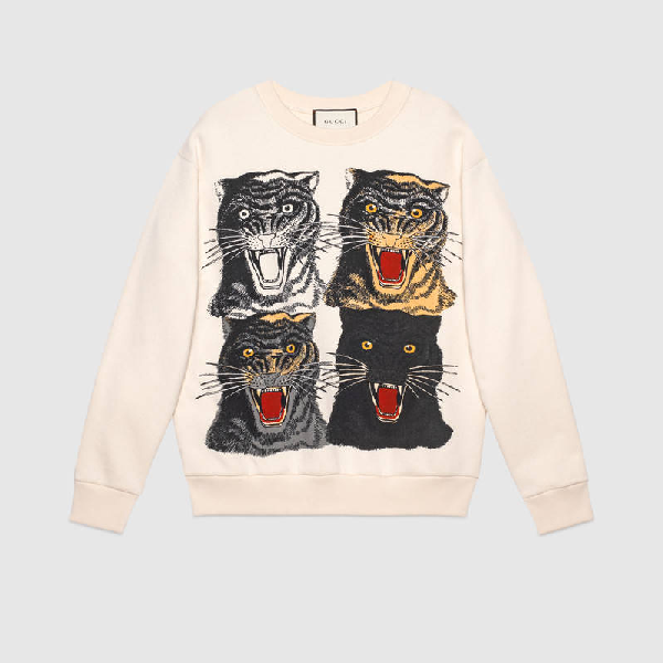 Gucci Tiger Face Printed Cotton Sweatshirt In White