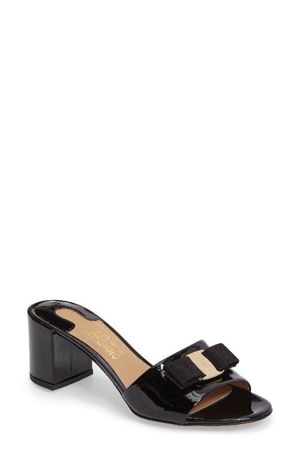 Salvatore Ferragamo Women's Eolie Patent Leather Block Heel Slide Sandals In Black Patent