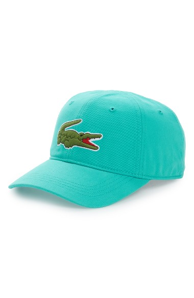 Lacoste 'big Croc' Logo Embroidered Cap In Thermal Blue