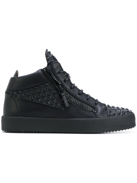 a7e1b797f7e04 Giuseppe Zanotti - 3D Leather Mid-Top Sneaker The Manhattan In Black ...