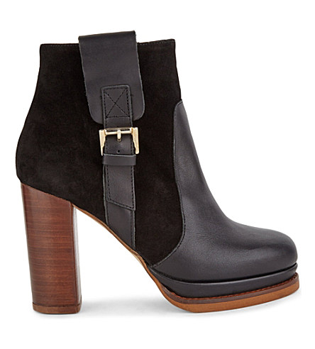 Kg Kurt Geiger Sibling Leather/suede Contrasting Ankle Boots In Black