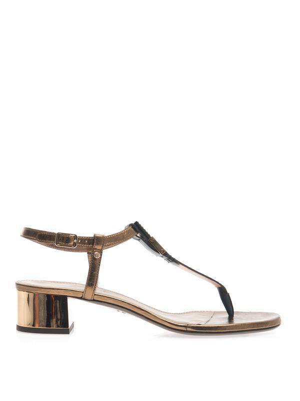 Lanvin Metallic Block-Heel Sandals In Metallic Bronze And Black
