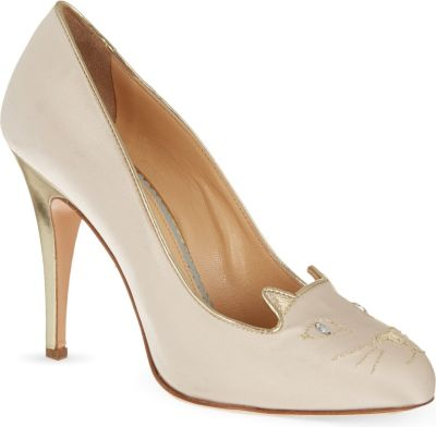 Charlotte Olympia Kitty Satin Court Shoes In Beige Comb