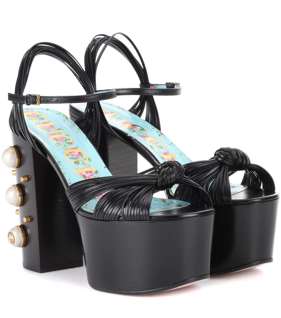 Gucci Allie Embellished-Heel Platform Sandals In Black