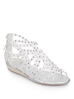 7886db80bd5e Stuart Weitzman Glogladius Glitzy Jelly Strap Sandals In Clear ...