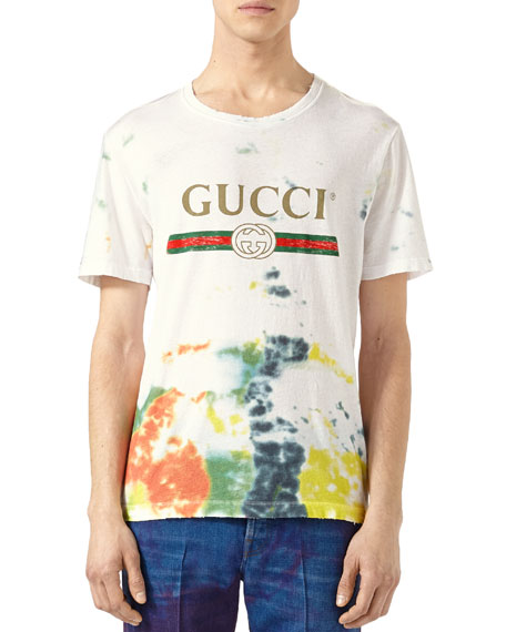 f596607e4 Gucci Slim-Fit Tie-Dyed Distressed Printed Cotton-Jersey T-Shirt In ...