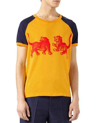5e7009767 Gucci T-Shirt T-Shirt In Pure Cotton With Tiger Print And Wallpaper Monogram