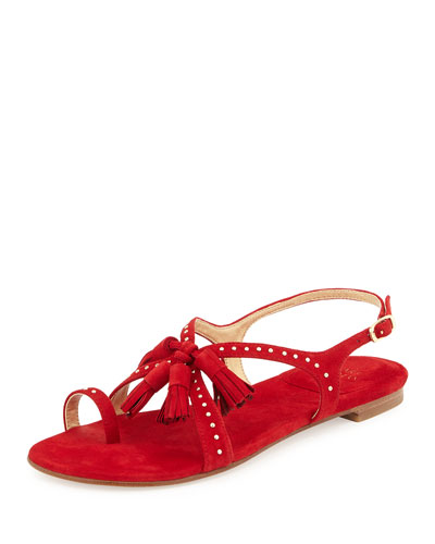 Stuart Weitzman Flapagain Flat Suede Tassel Sandal In Red