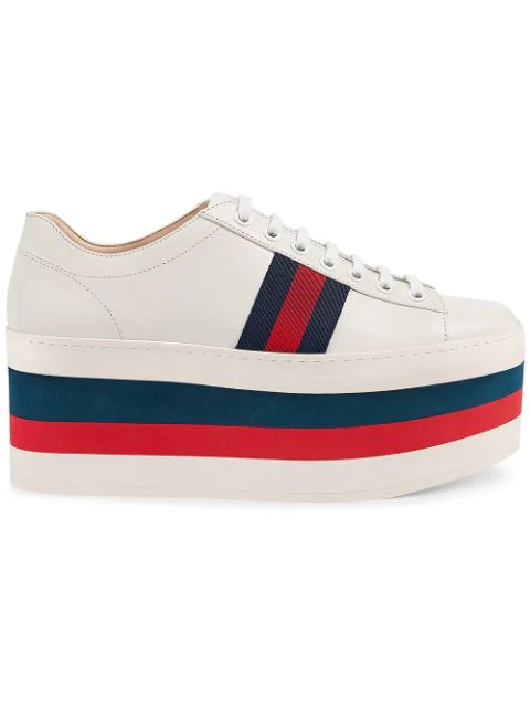 Gucci 110Mm Peggy Leather Platform Sneakers, White