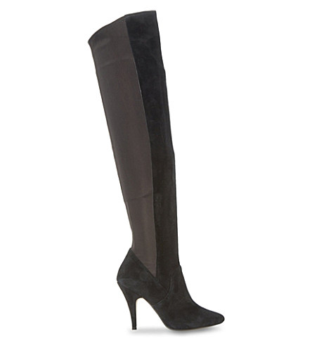 Dune Stretchy Over-the-knee Heeled Boots In Black-suede