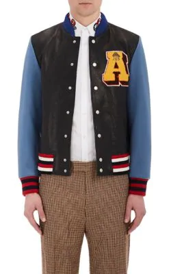 8a392cfed Patch-Appliquéd Leather And Wool Bomber Jacket in Multi